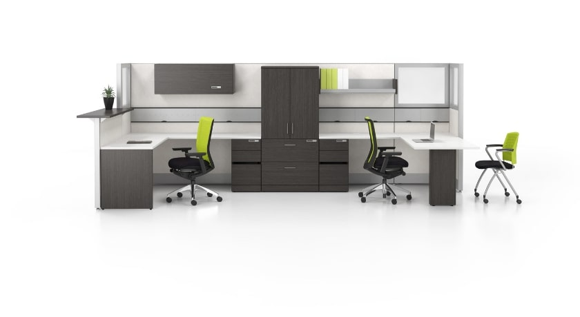 Workstations with hutch unit and extra storage